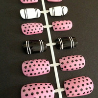 Polka Dots and Stripes Fake Nail Set