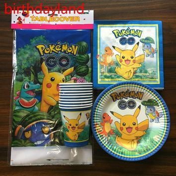 Go Kids Birthday Party Paper 20pcs Napkins+20pcs Cups+20pcs Plates+1pcs tablecloth for event party supplies decorationKawaii Pokemon go  AT_89_9