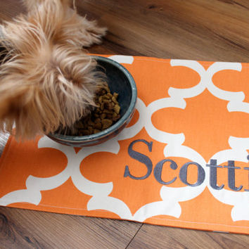 Personalized Quatrefoil Pet Mat - Placemat for your Dog or Cat's Bowl - ALL SIZES