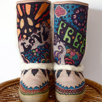 Hand Painted Psychedelic Sheepskin Suede Leather Boots Fur Lined Bearpaw Size 7