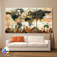 "LARGE 30""x 60"" 3 Panels Art Canvas Print Original Wonders world Map Texture Rustic Wall decor Home interior (Included framed 1.5"" depth)"