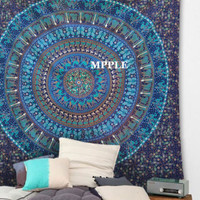 Queen Size Camel Elephant Mandala Peacock Tapestry Indian Hippie Animal Tapestry