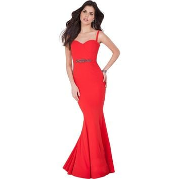 Terani Couture Embellished Cross Back Formal Dress