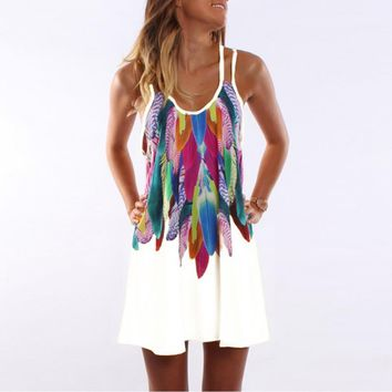 Feather Printed Causal Loose Dress