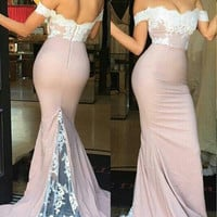 Pink Prom Dresses,Lace Mermaid Prom Dresses,Long Evening Dress