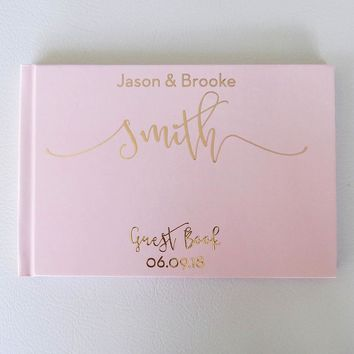 Wedding Guest Book, Hardcover, Blush Pink and Rose Gold Foil, Choice of Foil Colors and Sizes