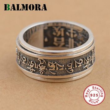 BALMORA 100% Real 925 Sterling Silver Buddhist Texts Rings for Men Gifts Religious Jewelry Thai Silver Ring High Quality SY20654