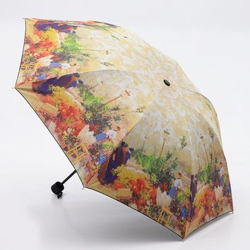 oil painting europe scenery pattern rain/ sun umbrella,3 Folding Thickening Anti UV fashion abstract art design women umbrella