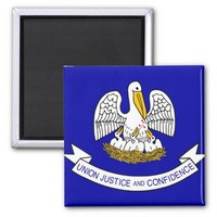 Magnet with Flag of Louisiana State - USA