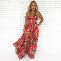 At Dusk Floral Maxi Dress in Red