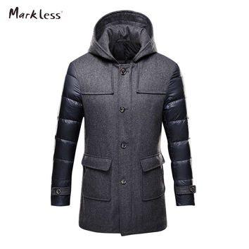 Wool Spliced Hooded coat