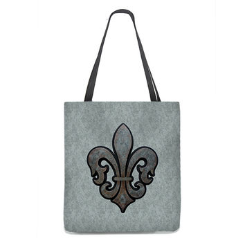 Rustic Fleur de Lis Tote Bag with gray background