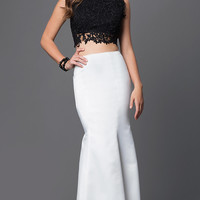 Black and White Two Piece Prom Dress
