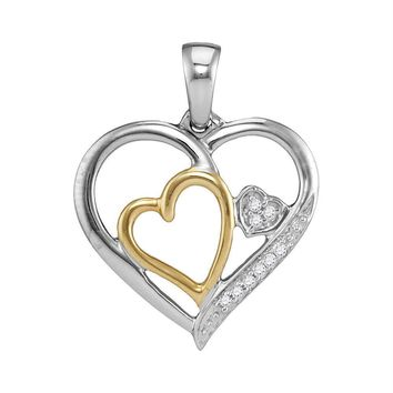 Two-tone Sterling Silver Womens Round Diamond Triple Nested Heart Pendant 1-20 Cttw
