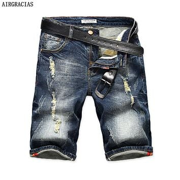 AIRGRACIAS Mens Denim Shorts 2017 Summer Straight Casual Knee Length Short Bermuda Masculina Ripped Jeans Shorts For Men 28-40
