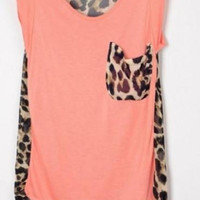 Leopard Patchwork High-low Sleeveless Pink Blouse - Sheinside.com