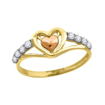 CZ Two Hearts Love Design Promise Ring in 10k Yellow & Rose Gold