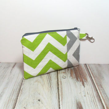 Small Clutch Bag - Green and Gray - Chevron Print - Handbag Clutch - Clutch Wallet - Phone Clutch Wallet - Teen Clutch Bag
