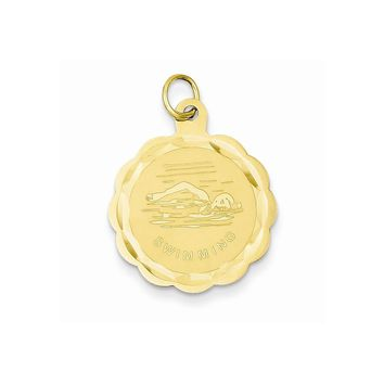 14k Yellow Gold Swimming Disc Charm