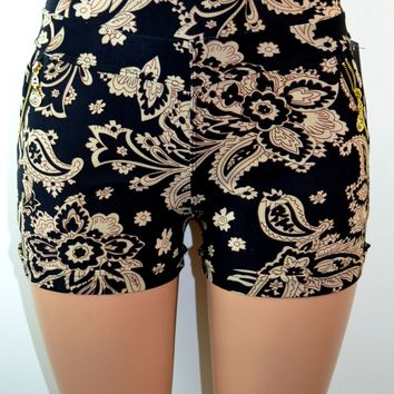 Soho Girls  Thick Waistband Paisley Print Shorts