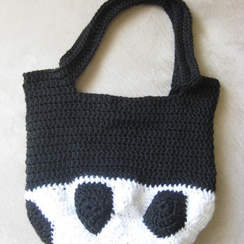 Crochet Pattern Soccer Ball Bag Black and White Handbag Tote