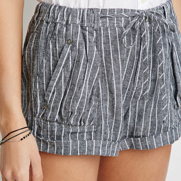 Pinstriped Denim Shorts
