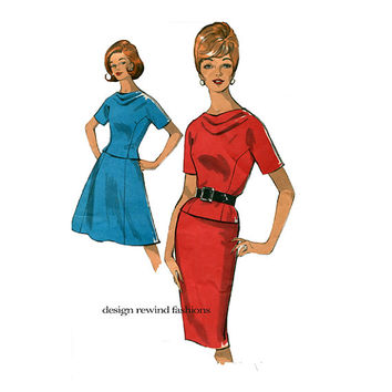1960s 2-PIECE DRESS PATTERN Casual Draped Cowl Necklne Top & Skirt Full or Wiggle Skirt  Bust 32 Size 12 Advance 2976 Womens Sewing Patterns
