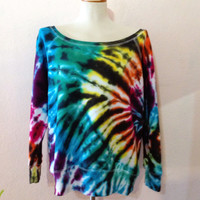 Tie Dye Oversized Sweater-Off Shoulder Fleece Sweatshirt by 2dye4designs