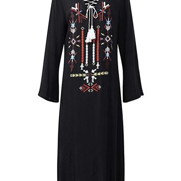 Folk Style Embroidered Maxi Dresses