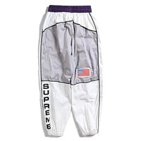 Supreme Trending Women Men Stylish Stitching Color Sport Pants Trousers Sweatpants White I13880-1