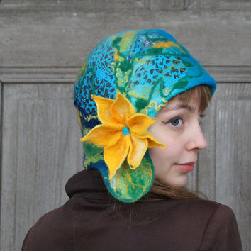 Unique felted cloche hat, retro style hat, turquoise and blue with yellow flower and green leaves. OOAK