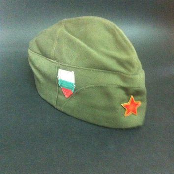 Vintage 1960s Tank man's Bulgarian Communist Army Military Soldier Uniform Cloth Hat, Vintage Cap, Military Cap