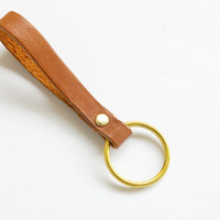 Genuine Leather minimalistic key fob key chain in Coffee