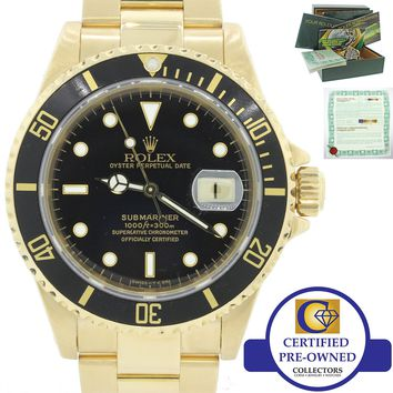 MINT Rolex Submariner 16618 18k Solid Yellow Gold Black Dial 40mm Dive Watch B&P