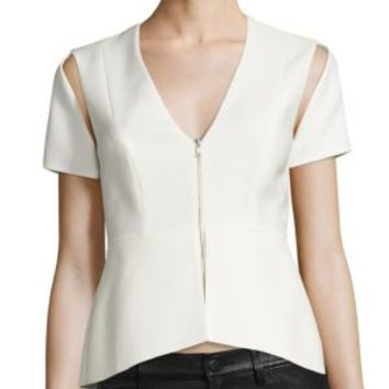 BCBGMAXAZRIA - Zip V-Neck Cold Shoulder Top