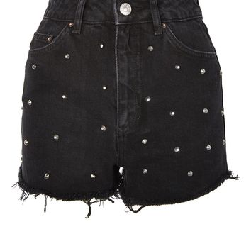 MOTO Stud Mom Shorts - Shorts - Clothing