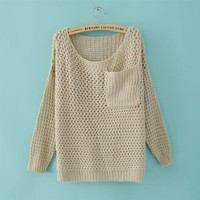 2012 New Korea Women Solid Left Pocket Crew Neck Pullover Knitwear Sweater