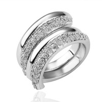 18K White Gold Plated Crystal Pave Double Spiral Freestyle Ring