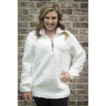Girlie Girl Preppy C.C White Sherpa Pullover Jacket T-Shirt