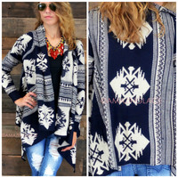 Eagle Ranch Navy Aztec Cardigan - One