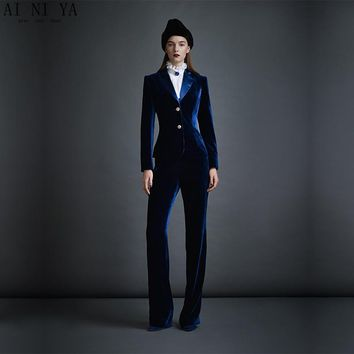 Dark Blue Velvet Women's Business Suits Formal Office Pant Suits Female Work Wear 2 Piece Sets Slim Fit Uniform Designs Blazers