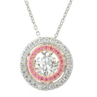 Gems In Motion Two Tone Circle Swarovski CZ Pendant