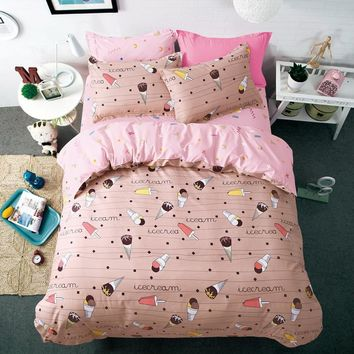 2017New Ice cream cartoon Good quality polyester printing children student bedding sets sheet duvet twin full queen king size