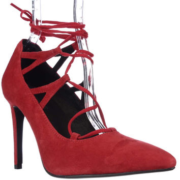 Jeffrey Campbell Brielle Lace Up Heels - Red