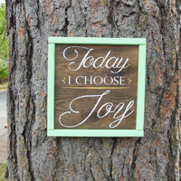 """Joyful Island Creations """"Today i choose joy"""" wood signs, gallery wall sign, mint and gold sign, small sign, wood framed sign, gift under 20"""