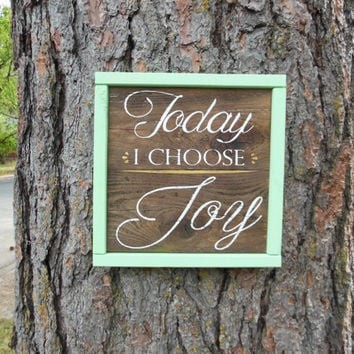 "Joyful Island Creations ""Today i choose joy"" wood signs, gallery wall sign, mint and gold sign, small sign, wood framed sign, gift under 20"