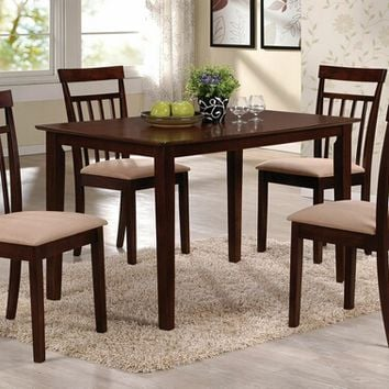 Acme 70325 5 pc samuel collection espresso finish wood dining table set with fabric upholstered seat cushion