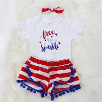 Girls 4th of July Outfit | Free to Sparkle Outfit with Red and White Shorts with Blue Pom Pom Trim, knotted headband
