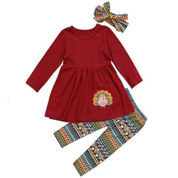 Thanksgiving Kids Baby Girl Clothes Sets Outfit Tops Long Sleeve Dress Leggings Headband 3pcs Cute Clothing Set Girls