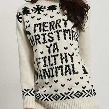Beige Letter Print Casual Round Neck Long Sleeve Pullover Sweater